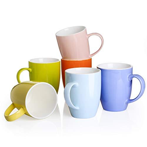Panbado, 6-teilig Set Porzellan Tasse, 370ml Becherset, Kaffeetasse, Milch Tee Becher für Frühstück, Trinkbecher, bunt Modernes Design für Geschirr Tafel-Zubehör
