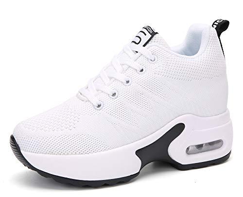 AONEGOLD Sneakers Zeppa Donna Scarpe da Ginnastica Basse Tennis Sportive Fitness Scarpe con Zeppa Interna Tacco 8.5 cm Casual Moda 2786 Bianco 38 EU