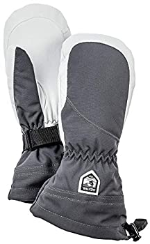 Hestra Heli Ski Womens Glove - Classic Leather Snow Mitten for Skiing Snowboarding and Mountaineering  Women s Fit  - Grey/Offwhite - 8