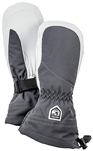 Hestra Heli Ski Womens Glove - Classic Leather Snow Mitten for Skiing and Mountaineering with Womens Fit - Grey/Offwhite - 7