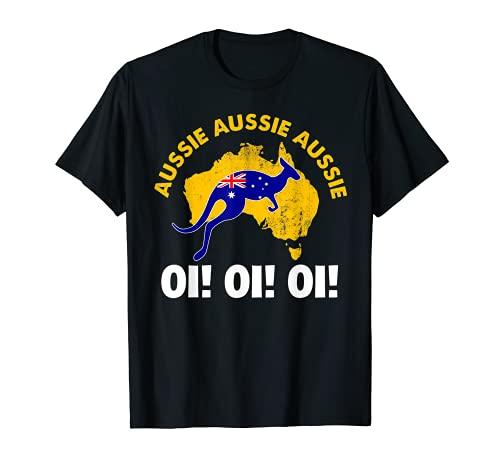 Australia Kangaroo Flag Aussie Aussie Aussie Oi! Oi! Oi! T-Shirt