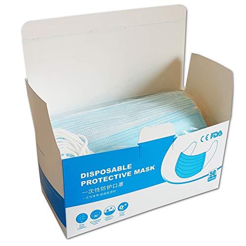 50 Stück Einweg Mundschutz 3-lagig | OP-Masken | CE zertifizierter Infektionsschutz aus schmelzgeblasenem Vliesstoff | mit anpassbarem Nasenbügel aus Metall