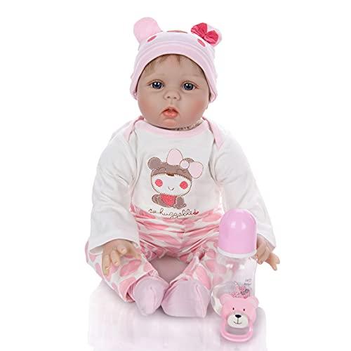 ZTLY Reborn Baby Muñeca, Cuerpo Completo de Silicona, Lindo bebé con Chupete, es un Buen Regalo, trae Ropa Hermosa y biberón.