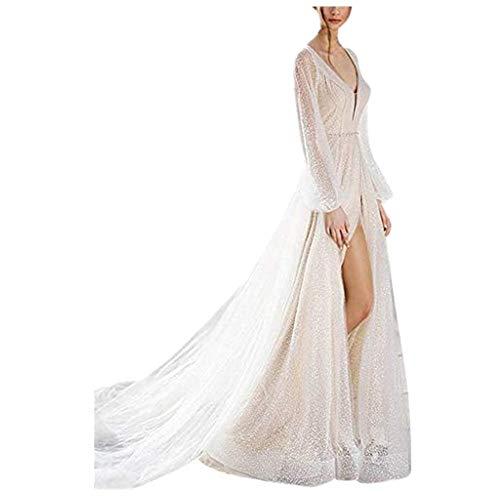Briskorry kleider damen Sexy abendkleider elegant brautkleid lang weiß Tiefer V-Ausschnitt Einfarbig Drucken Aushöhlen Spitze Lange Ärmel Party Kleid cocktailkleid elegant für hochzeit