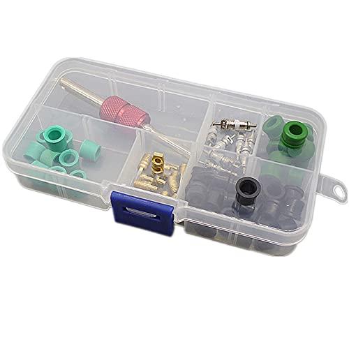 Aire acondicionado automotriz A/C Schrader Tool de la válvula y removedor de la válvula y el adaptador de la manguera A/C Juego de surtido de la junta de goma (Color : As picture show)
