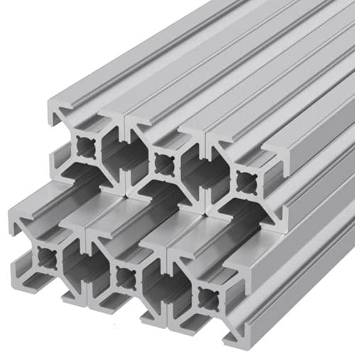 Ulber24- Aluprofil 20x20 Nut 6 Typ B/6x300mm =1,80m Aluminium Konstruktion Montage Systemprofil 2020 Alu Schiene Stecksystem Profil B-Typ
