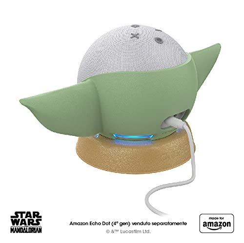 Nuovo supporto per Amazon Echo Dot (4ª gen.) ispirato a Star Wars The Mandalorian Baby Grogu™, Made for Amazon