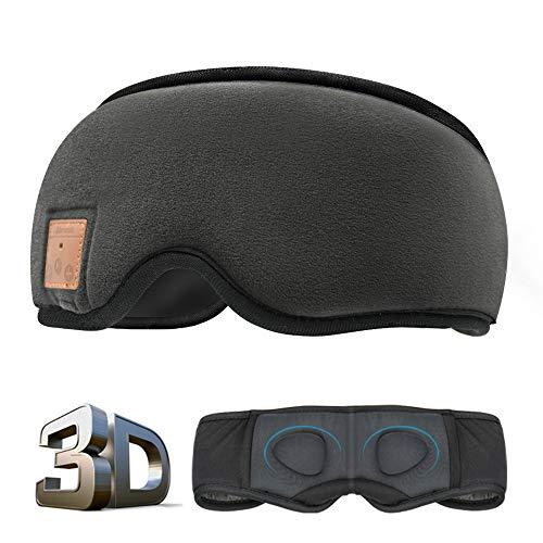 MOITA Sleep Headphones Bluetooth Sleep Mask, 3D Sleep Eye Mask with Built-in Sponge Speakers, Wireless Bluetooth Headphones Sleeping Mask for Sleeping, Napping, Travelling, Yoga (Black)
