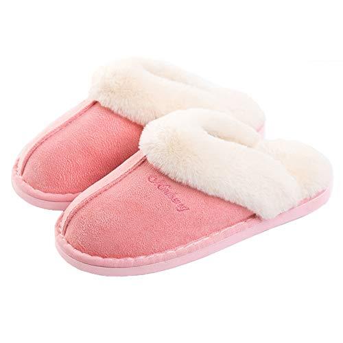 Mujer Hombre Invierno Fur Zapatillas de Estar Cerradas Calienta Pantuflas, para Interior o Exterior