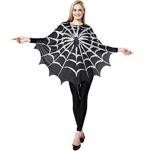 EraSpooky Damen Spinnennetz Kostüm Faschingskostüme Umhang Cosplay Halloween Party Karneval Fastnacht Kleid für Erwachsene