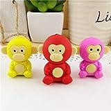 Office School Student Stationery Supplies Gift & 3Pcs Cartoon Little Monkey Eraser Cute Animal Kids Stationery School Supplies