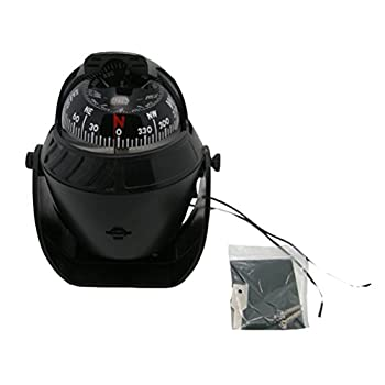Odowalker Black Incandescent Light Illuminated Marine Compass Suitable for Car Boat and Truck  Black