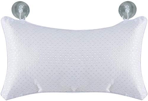 DALUXE Pique Bath Oreiller - Soft, Le Support DALUXEable pour la tête et du Cou Baignoire Espace de Pinces Coussins Maintien à Strongsville Coupe Fixes Aspiration dans - Blanc, 28x20cm