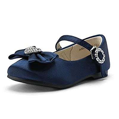 DREAM PAIRS ANGEL-22 Mary Jane Front Bow Heart Rhinestone Buckle Ballerina Flat New Navy Satin 9 M US Toddler