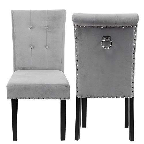 GOTOTOP 2X sillas de Comedor, sillones de Salón para Cocina, Comedor, Oficina, Dormitorio, Universal para la decoración de Bodas en casa, Madera y Tela