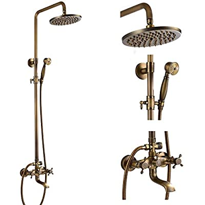 Wall Mounted Bathroom Rainfall Shower Faucet System Set Triple Function