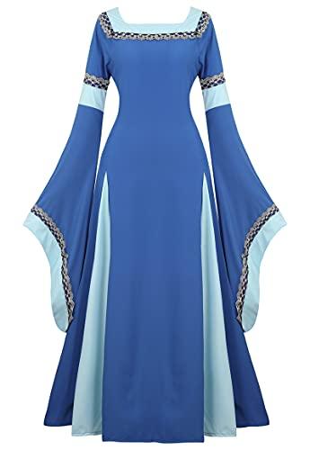 Zhitunemi Disfraz renacentista para mujer, vestido campesino, camisn, vestido retro, para Halloween, para mujer, Azul / Patchwork, Large