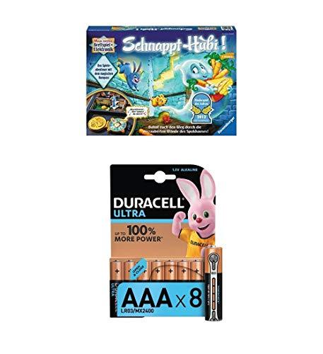 Ravensburger 22093 - Schnappt Hubil + Duracell Ultra Power Alkaline AAA Batterien, 8er Pack