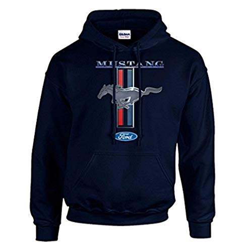 Price comparison product image Ford Mustang Hooded Sweatshirt Mustang Pony Design-Navy-XL