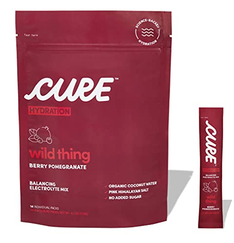 Cure Hydration Mix   Organic Electrolyte Powder   Gluten-Free   Vegan   Non-GMO   Paleo Friendly   Made with Coconut Water   Pouch of 14 Packets - Berry Pomegranate Flavor