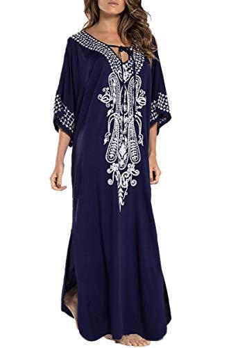 L-Peach Vestido Largo con Floral Bordado Mujer, Azul Oscuro, Talla única