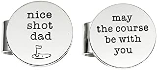 Ms. Clover Father's Day Golf Gift, Nice Shot Dad May The Course Be With You Magnetic Golf Ball Markers Set of 2 With Case,Gift for Dad.