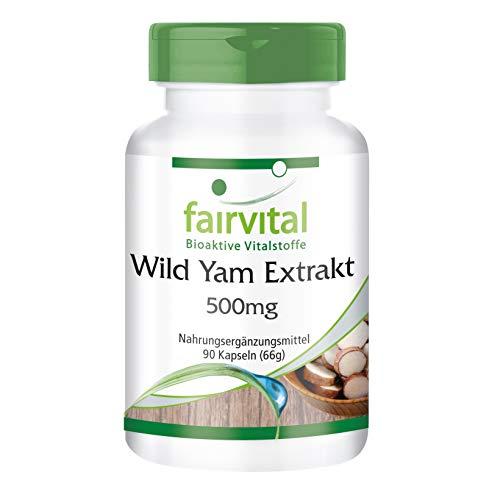 Extracto de Ñame silvestre 500mg - VEGANO - Wild Yam - Dosis elevada - 90 Cápsulas - 20% de Diosgenina - Calidad Alemana