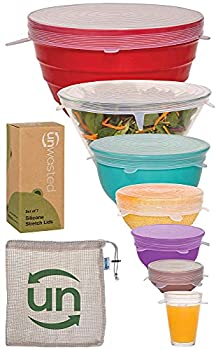 unwasted Silicone Stretch Lids- Set of 7 Incl XL Size- Reusable & Versatile Silicon Covers- Fits Any Container or Bowl to Keep Food Fresh- Store & Reheat- Easy Clean  Clear