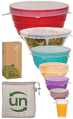 unwasted Silicone Stretch Lids (Set of 7 inc The XL Lid) –Reusable & Versatile Silicon Food Covers–Fits Any Container Bowl Cups– Universal Stretchable Transparent Washable Dishwasher & Microwave Safe