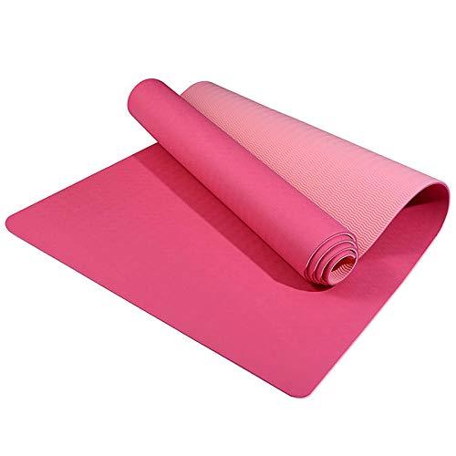 Fauge Esterilla de Yoga Gruesa de 6 Mm TPE, EcolóGica, para Pilates, para Mujeres, Correa de Transporte, Ejercicio para el Hogar, con Esterilla de Gimnasia (Color Fucsia)