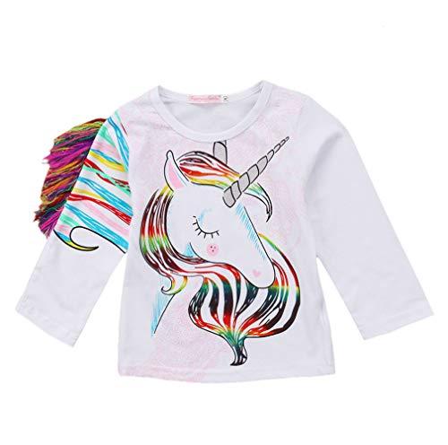 Toddler Kid Baby Girls Tassel Fringe Unicorn Tee Long Sleeve Tops T- Shirt 5