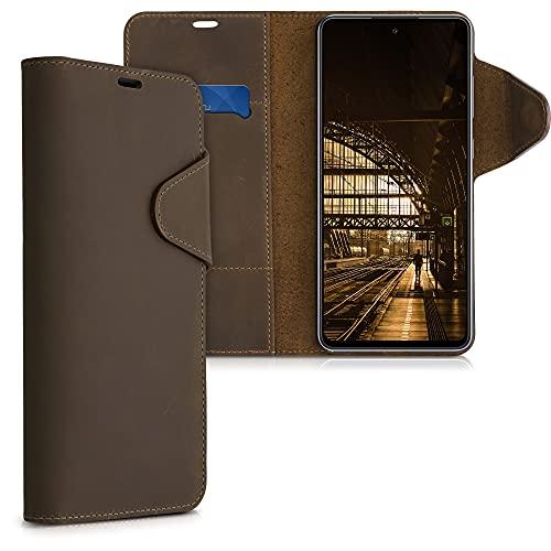kalibri Wallet Hülle kompatibel mit Samsung Galaxy A72 - Hülle Leder - Handy Cover Handyhülle in Braun