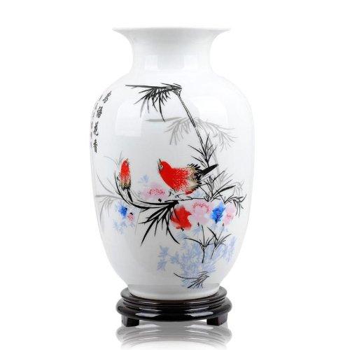 ufengke-pv Chinesische Vogel Und Blumenvase, Jing Dezhen Weiße Kleine Keramikvase Antike Vasen, Kunst Dekorative Vase Für Haushalt, Büro, Hochzeit, Party