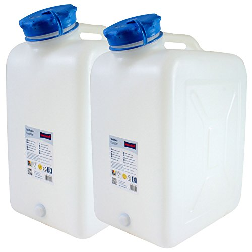2x Weithals-Kanister PRO mit je 31 Liter Volumen - 2er Set: Lebensmittelkanister Wasserkanister