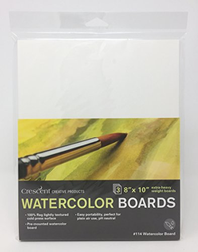Crescent Creative Products Crescent Art & Illustration Watercolor Board, 8' x 10', White 3 Count