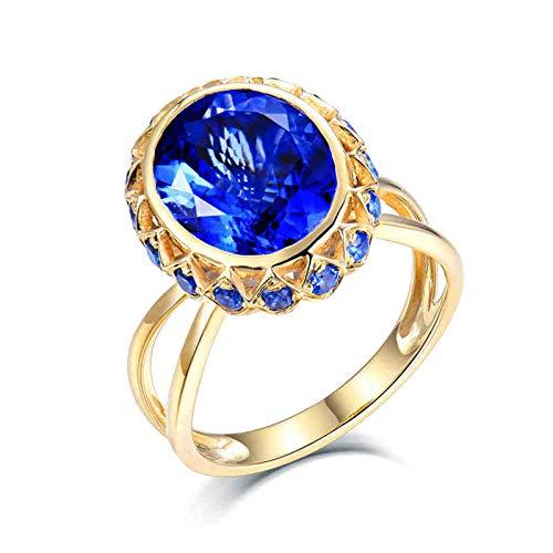 Beydodo Anillo de Compromiso Mujer,Anillo Oro Amarillo 18K Mujer Oro Azul Oval Tanzanita Azul 4.9ct Zafiro 0.73ct Talla 20(Circuferencia 60MM)