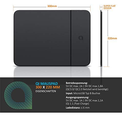 CSL - Mauspad mit Induktionsladegerät 10 Watt - Mousepad mit Fast Wireless Charger Induktions ladegerät - Qi Standard und Qi 1.1 Fast Charge - kompatibel mit Samsung Galaxy Apple iPhone - Kunstleder