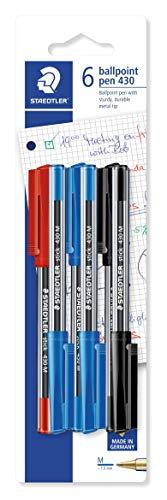 Staedtler 430 MSBK6D stick Kugelschreiber Linienbreite M, 0.45 mm, Kappe und Clip in Schreibfarbe, 6 Stück auf Blisterkarte