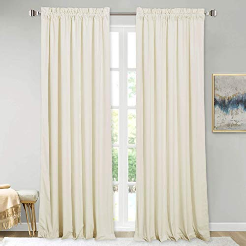StangH Ivory Velvet Curtains for Window - Heavy Velvet Privacy Thermal Drapes, Elegant Decor White Backdrop Curtains 96 inches Long, for Dining Room / Apartment / Wedding, Ivory, W52 x L96, 2 Panels