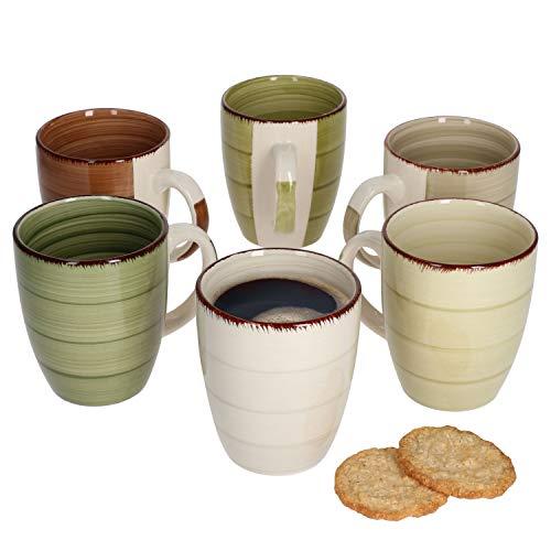 MamboCat 6er Set Nature Kaffeebecher Landhausstil I Ø 8,7 cm I 300 ml I Tee-Pott I Rustikale Optik I Je 1x in Taupe, olivegrau, braun, hellgrün, moosgrün, dunkelgrün