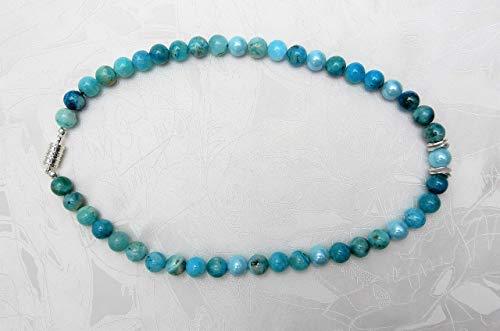 Halskette Kette Damen Edelsteinhalskette Edelstein Hemimorphit Muschelkernperlen 925 Silber Geschenk handmade hilla-beads