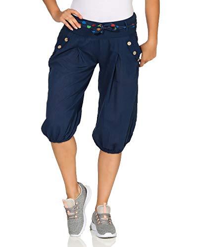 ZARMEXX Pantalones de harén Slip-Bermuda con cinturón de Corbata Pantalones de harén Cortos Pantalones de Globo de un Color Pantalones Cortos Bermudas Talla única (34-40)