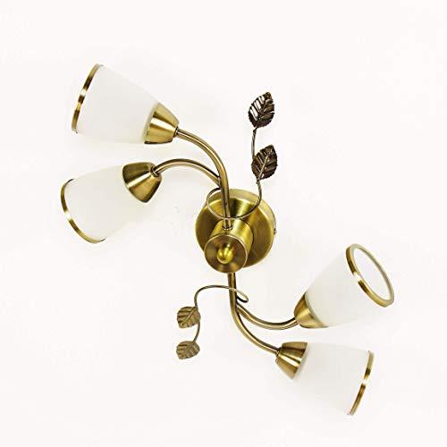 Dekorative Deckenleuchte Jugendstil Glas Metall in Bronze antik Weiß Deckenlampe Schlafzimmer Wohnzimmer
