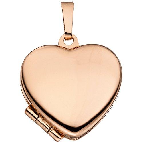 JOBO Damen-Medaillon Herz aus 925 Silber rosegold vergoldet zum Öffnen für 2 Fotos