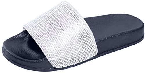 MRULIC Damen Rutschen Sandalen Sparkle Sliders Pailletten Blume Gedrückt Hausschuhe Schuhe Home Flip Flop Slipper(Schwarz,36 EU)