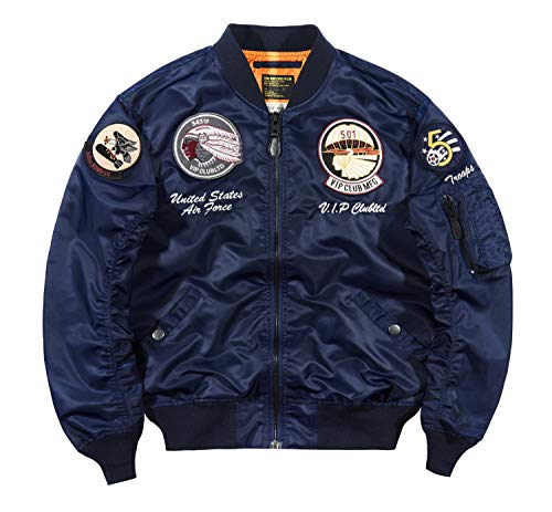 Men's Bomber Jacket MA-1 Flight Jackets Embroidered Lightweight Spring Fall Winter Jacket Outdoor Windbreaker
