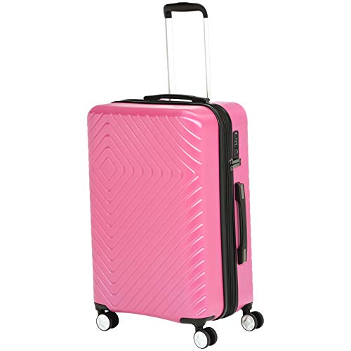 AmazonBasics Geometric Travel Luggage Expandable Suitcase Spinner with Wheels and Built-In TSA Lock, 27.2-Inch - Pink