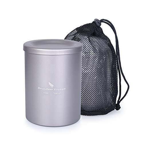 iBasingo 180 ml titanium dubbellaagse theekop reis waterbeker voor buitenshuis camping thee set met thee filter deksel voor picknick wandelen reizen thuisgebruik