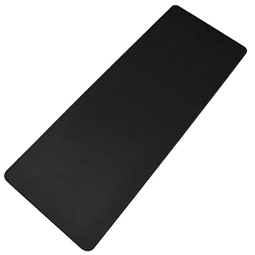 HOOYEE Extended Non-Slip Rubber Base 3mm Thick Soft Keyboard Gaming Mouse Pad Mat, Stitched Edges 31.5'x11.8'x0.12' (Black)