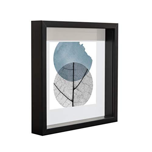 BD ART 23 x 23 cm Box 3D Bilderrahmen mit Passepartout 13 x 13 cm, Schwarz Objektrahmen